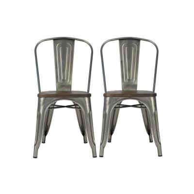 Penelope Antique Gun Metal, Metal Dining Chair with Wood Seat (Set of 2)