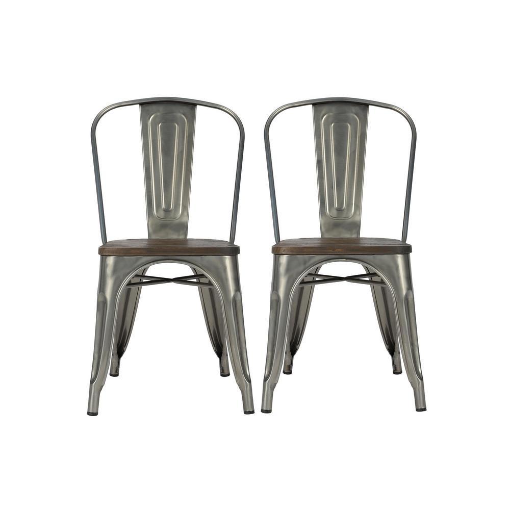 Penelope Antique Gun Metal, Metal Dining Chair with Wood Seat (Set of 2)
