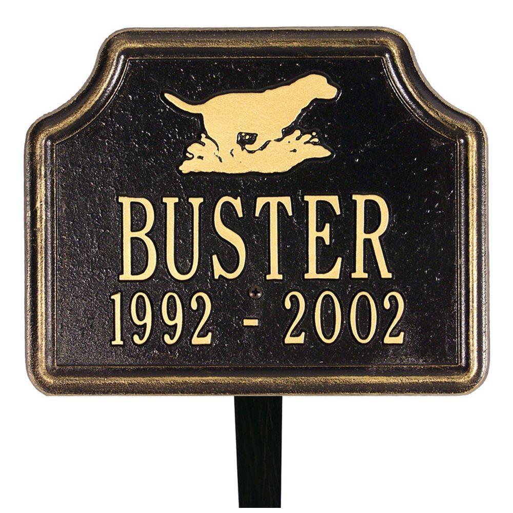 Retriever Black/Gold Two Line Lawn Memorial Plaque