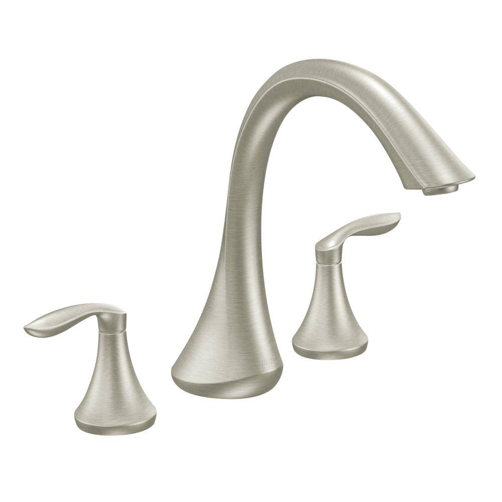 replace roman tub faucet. MOEN Eva 2 Handle Deck Mount Roman Tub Faucet Trim Kit in Brushed Nickel  Valve Not Included T943BN The Home Depot