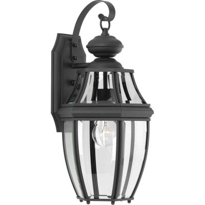 New Haven Collection 1-Light 18.1 in. Outdoor Black Wall Lantern Sconce