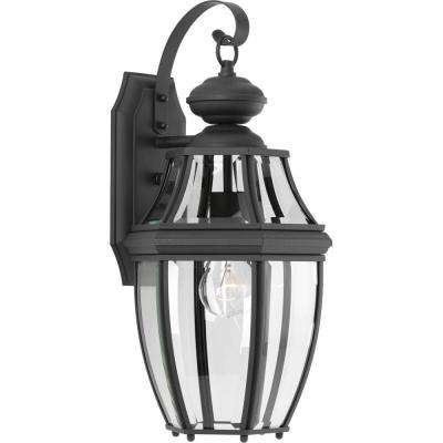 New Haven Collection 1-Light Large 18.1 in. Outdoor Black Wall Lantern