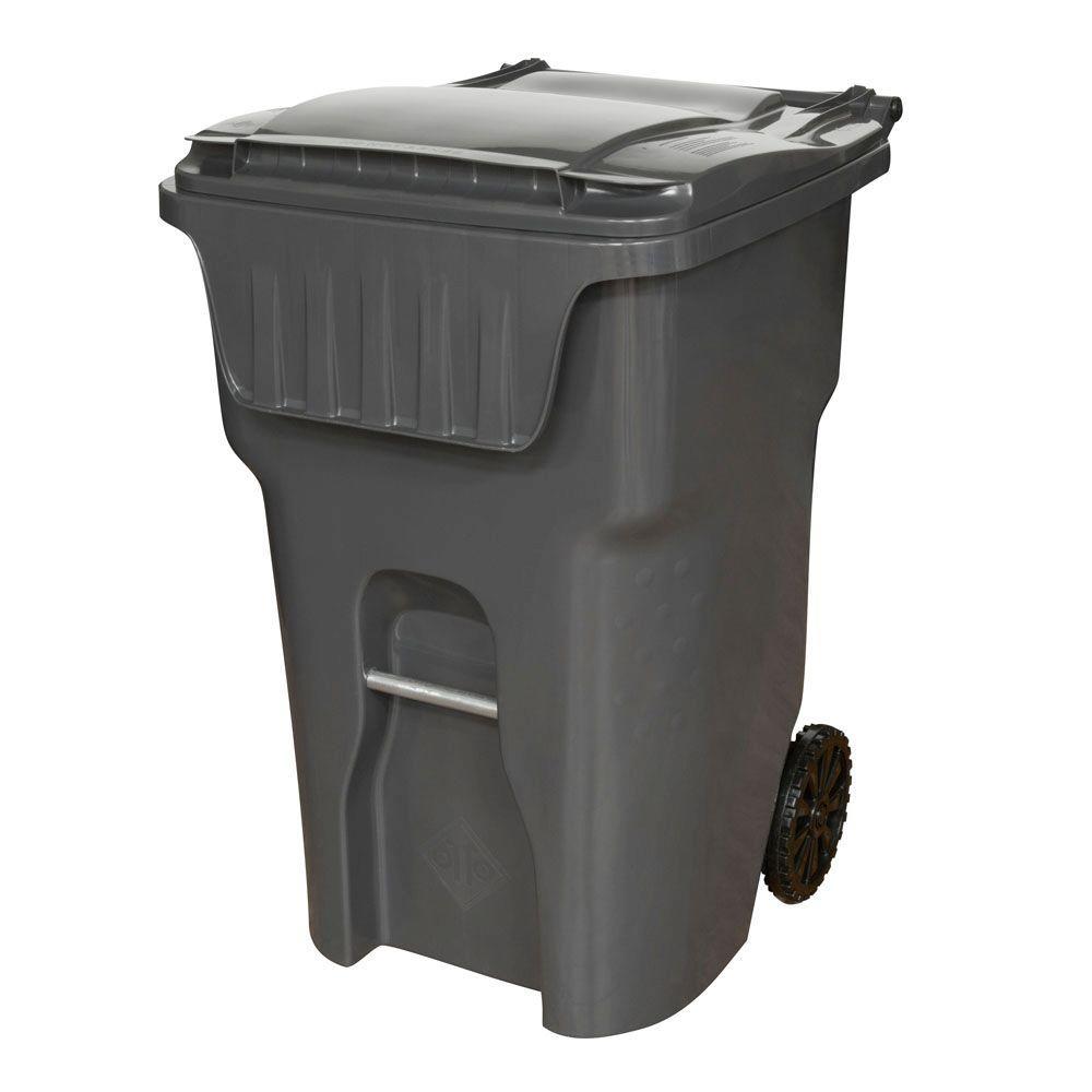 Edge 95 Gal. Grey Heavy Duty Rollout Trash Can