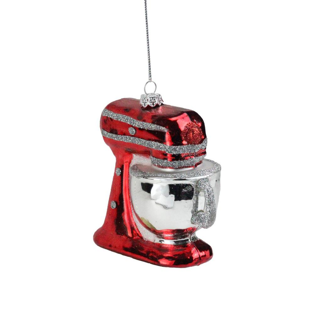 Red And Silver Glittered Kitchen Mixer Christmas Ornament