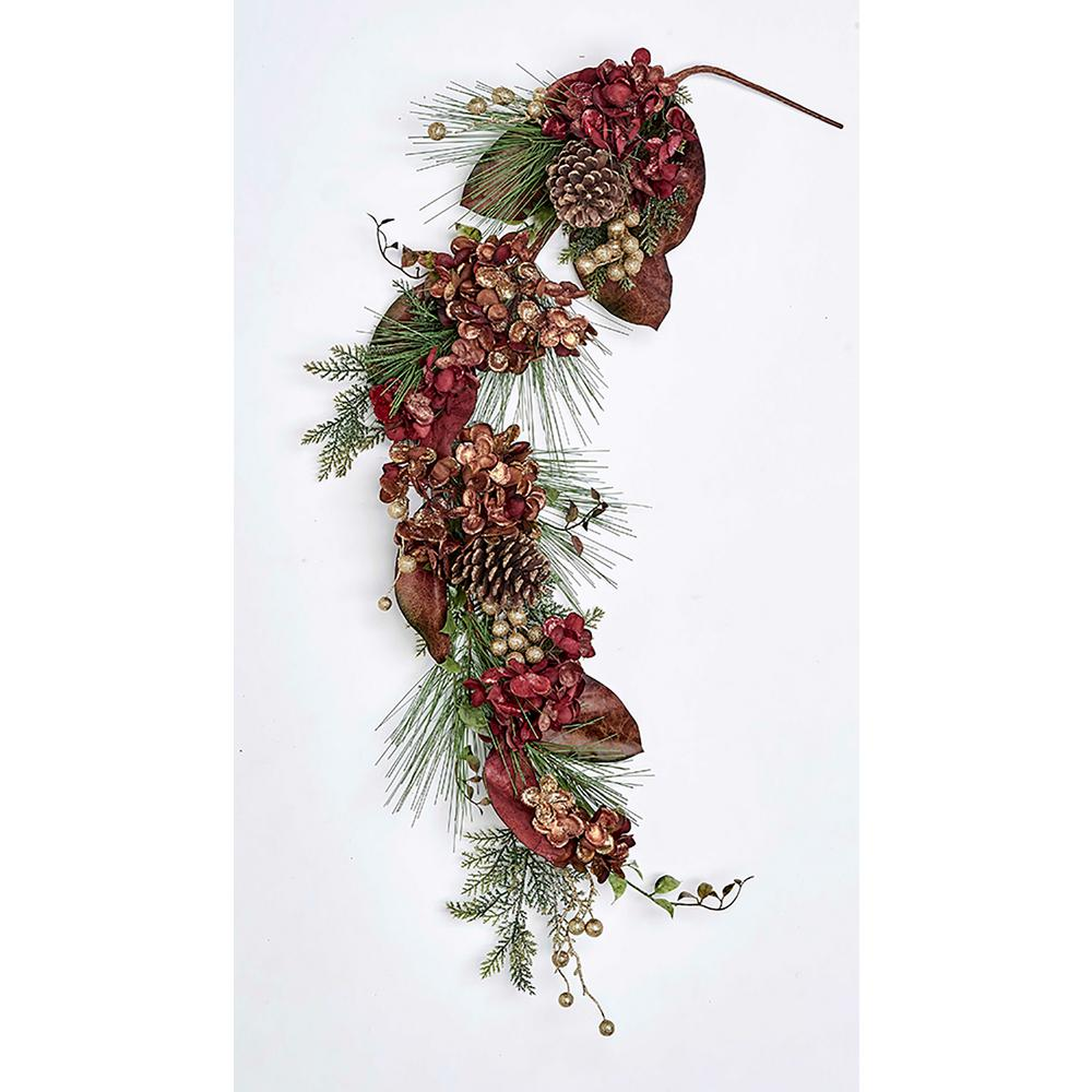 4 ft. Gilded Hydrangea Pine/Cone Berry Garland-7151 - The ...