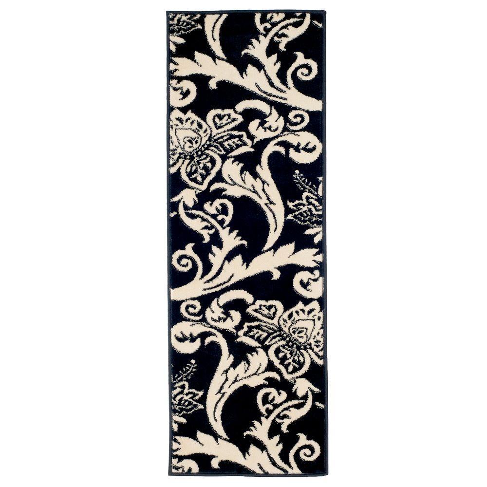Floral Black 1 ft. 8 in. x 5 ft. Rug Runner