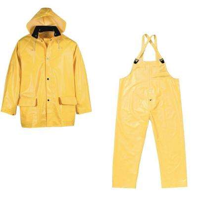 XXL Yellow PVC Supported Industrial Rain Suit (3-Piece)