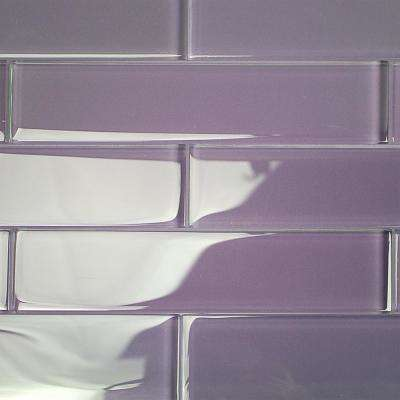 Contempo Grape 2 in. x 8 in. x 8mm Polished Glass Floor and Wall Tile (1 sq. ft.)
