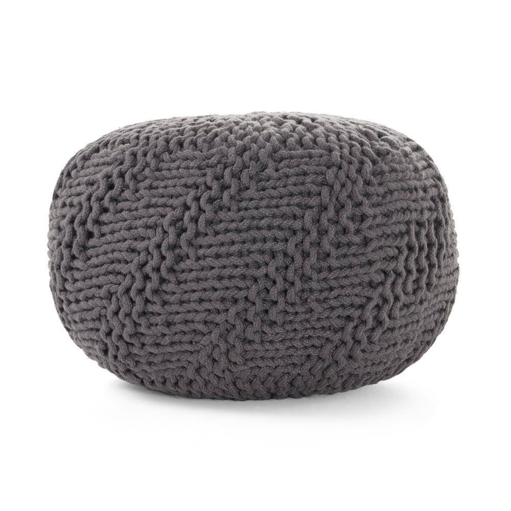 Aira Dark Grey Fabric Weave Outdoor Pouf
