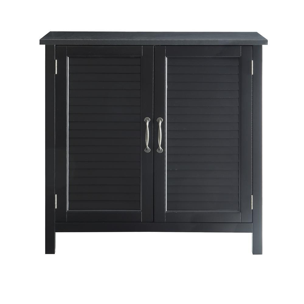 Olivia Black Accent Cabinet, 2-Shutter Doors
