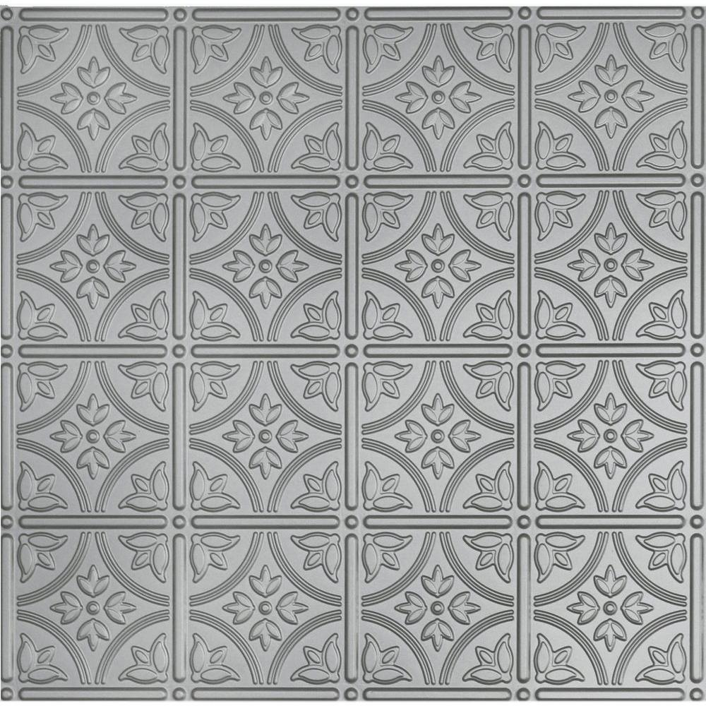Global Specialty Products Dimensions 2 ft. x 2 ft. Nickel Ceiling Tile for Refacing in T-Grid Systems
