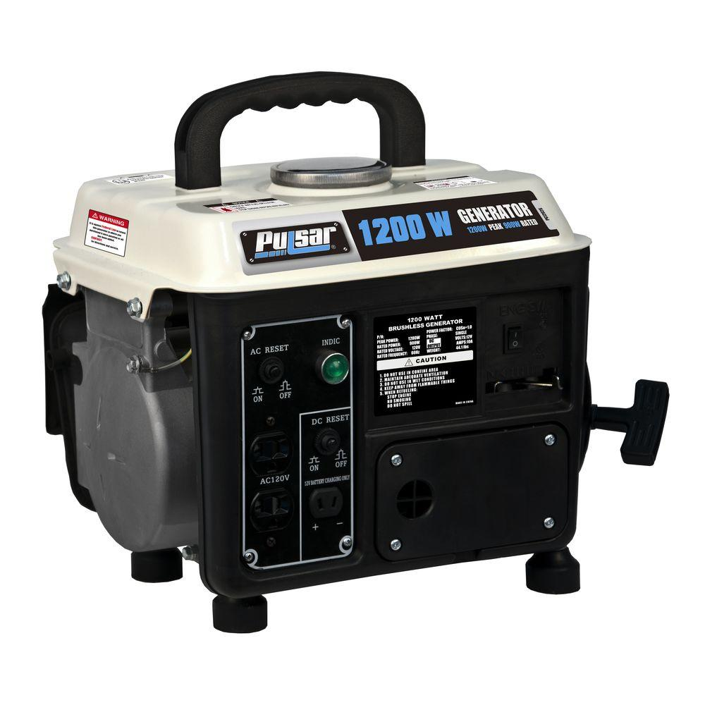 PULSAR 1,200-Watt 2-Stroke Gasoline Powered Portable Gene...
