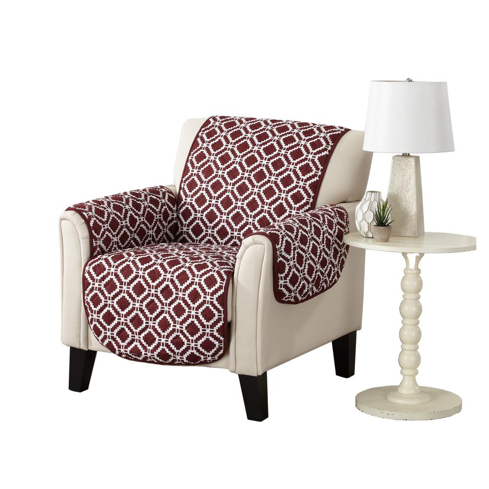 Liliana Collection Oxblood Red Printed Reversible Chair Furniture Protector