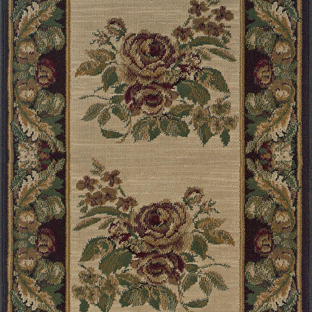 Natco Stratford Bouquet Beige 2 ft. 9 in. x Your Choice Length Roll Runner