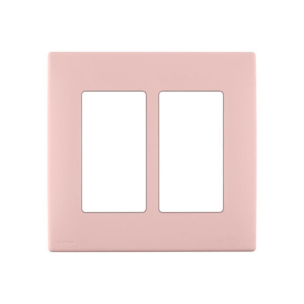 Leviton Renu 2 Gang Screwless Snap-on Wall Plate - Fresh Pink Lemonade-DISCONTINUED