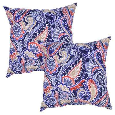 Poolside Paisley Square Outdoor Throw Pillow (2-Pack)