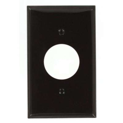 1-Gang Standard Size Nylon Wall Plate and 1-Single Receptacle in Brown