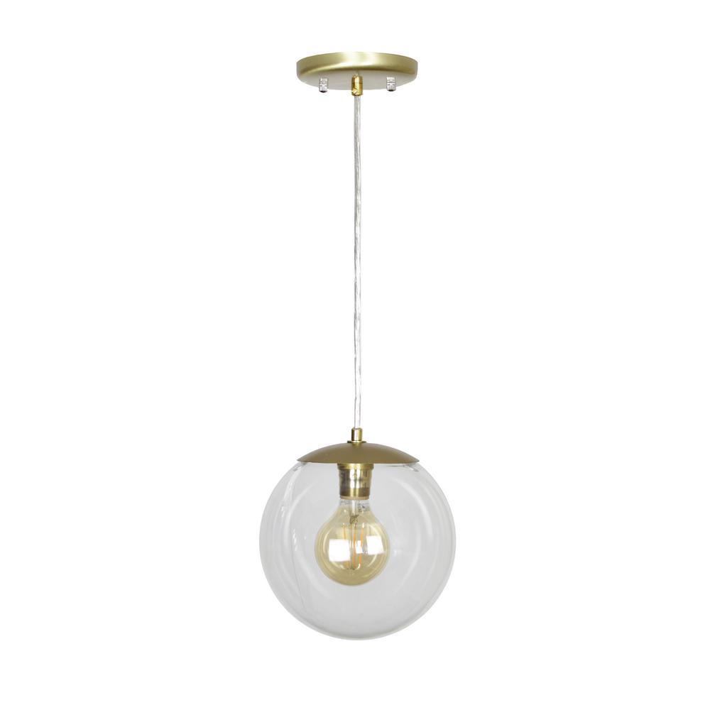 EQLight Mid Century 1-Light Clear Glass Pendant