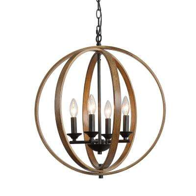 Eniso 4-Light Black Orb Iron Chandelier with Distressed Pine Finish Accents
