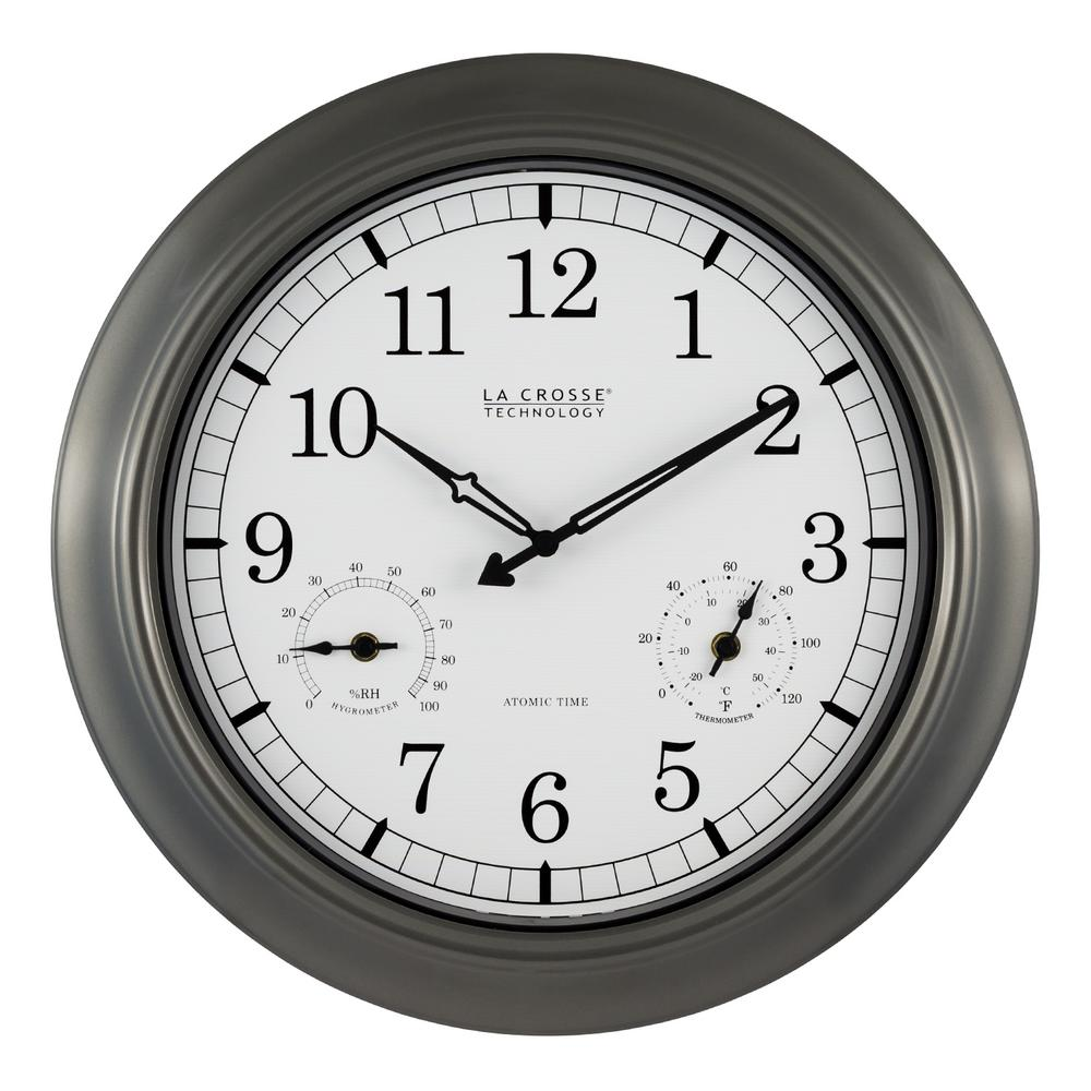 Bon Pewter Analog Atomic Clock