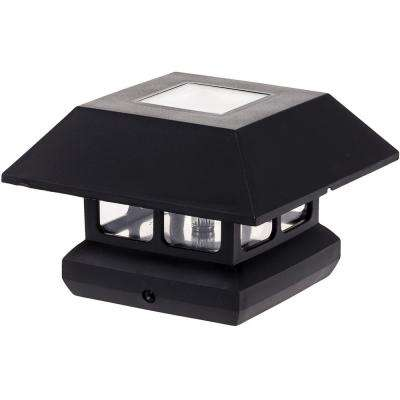 4 in. x 4 in. Solar Powered Integrated LED Black Post Cap Light for Nominal Wood Posts