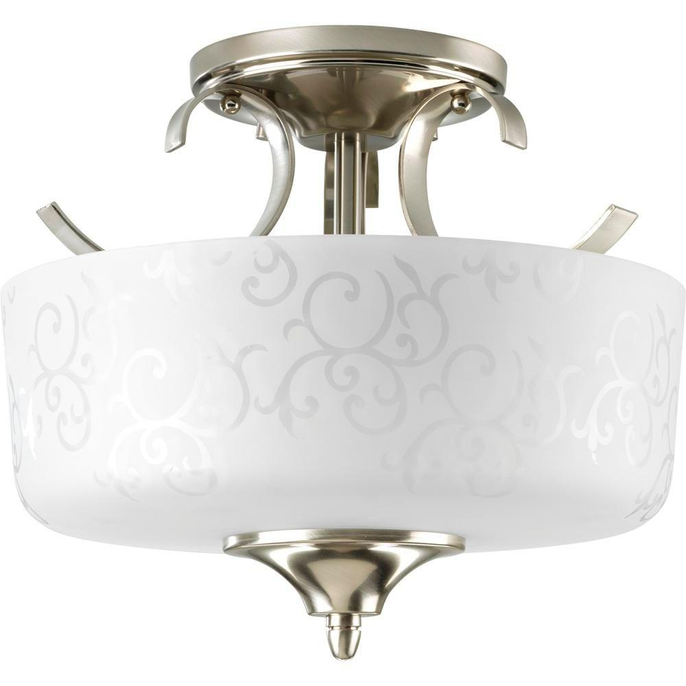 Progress Lighting Nicollette Collection Brushed Nickel 2-light Semi-flushmount-DISCONTINUED