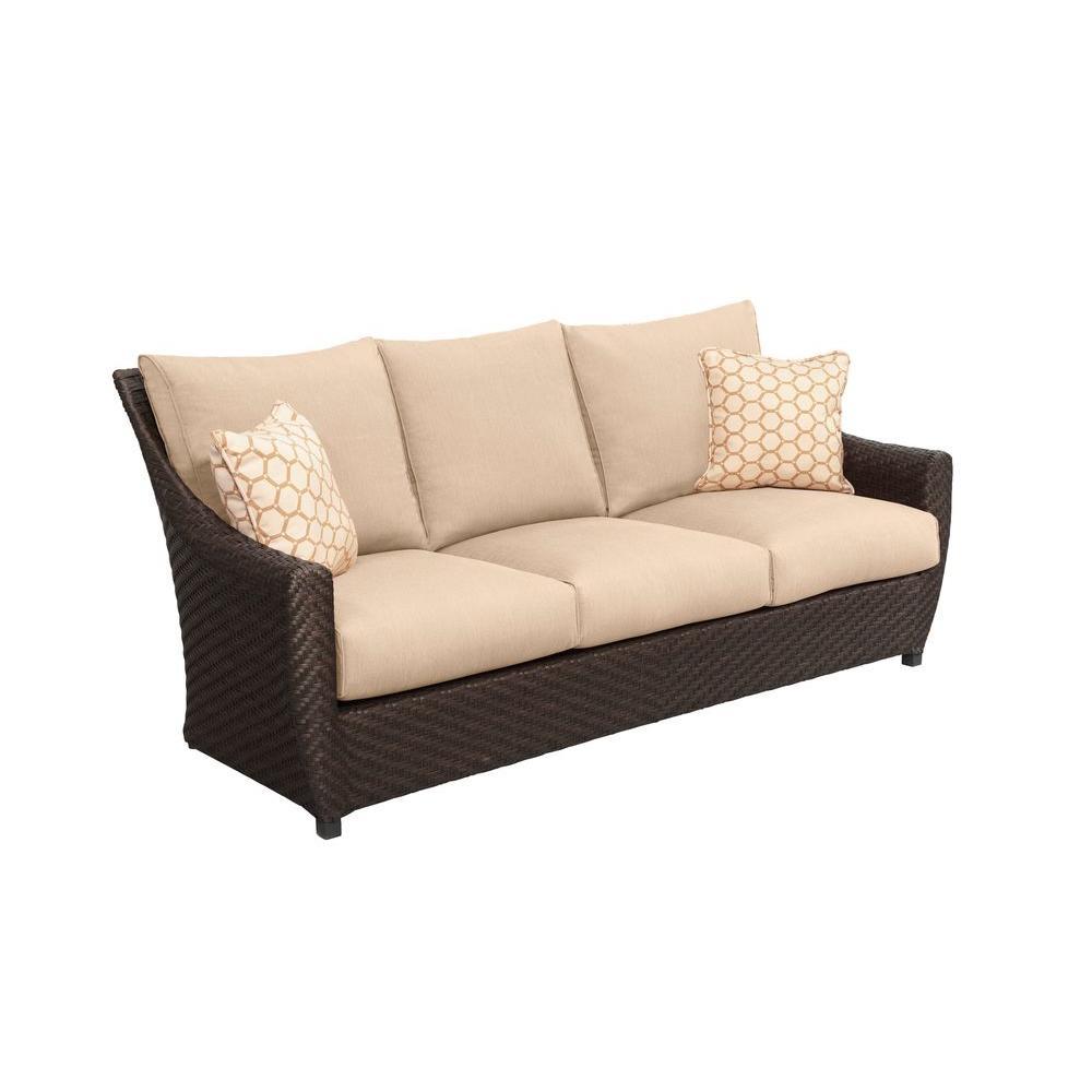 Brown jordan highland patio sofa with harvest cushions and for Sofa jordsand