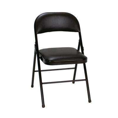 Black Vinyl Padded Seat Folding Chair (Set of 2)