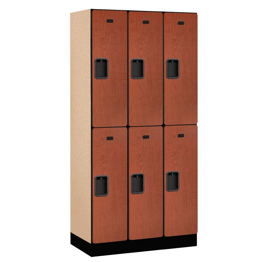 32000 Series 36 in. W x 76 in. H x 18 in. D 2-Tier Designer Wood Locker in Cherry