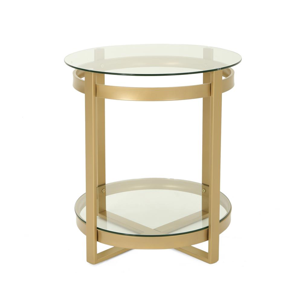 Noble House Solidago Round Clear Tempered Glass Coffee