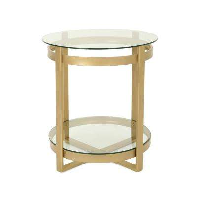 Solidago Round Clear Tempered Glass Coffee Table with Brass Iron Frame