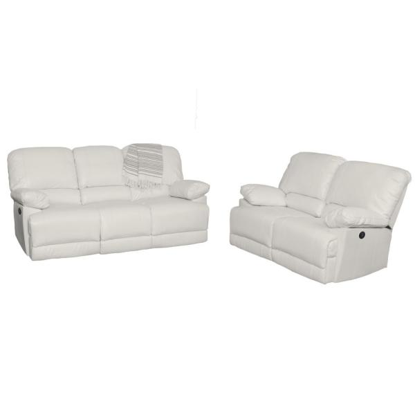 CorLiving Lea 2-Piece White Bonded Leather Power Recliner ...
