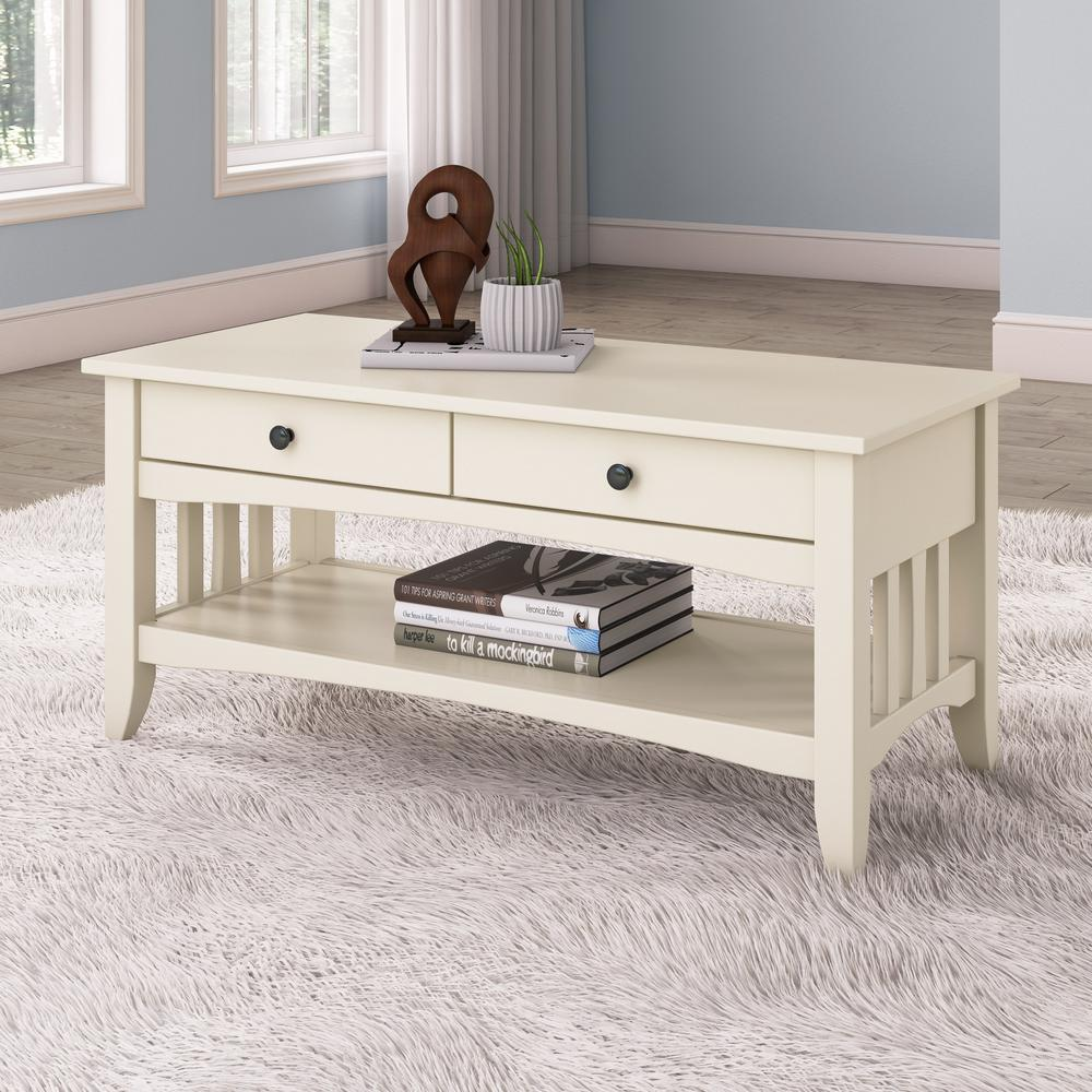 Alaterre Furniture Country Cottage White Antique 42 In. L