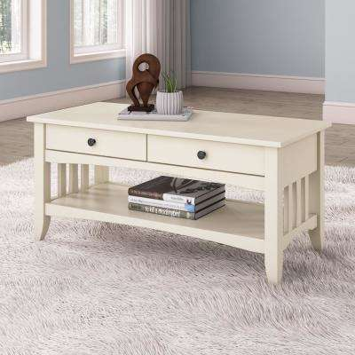 Crestway Antique White Coffee Table with Drawers
