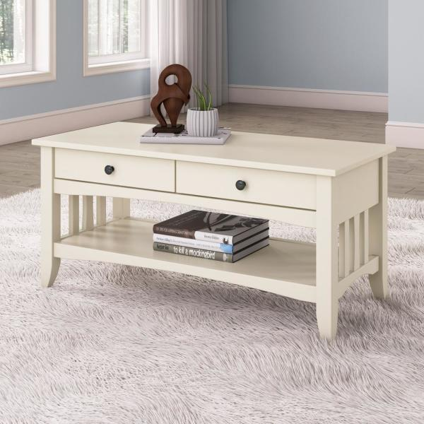 Corliving Crestway Antique White Coffee Table With Drawers