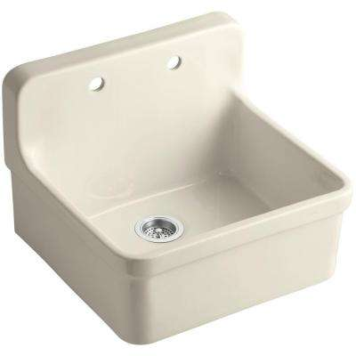 Gilford Wall Mount Vitreous China 24 in. 2-Hole Single Bowl Kitchen Sink in Almond