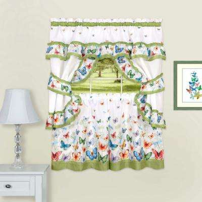 Butterflies Multicolor Polyester Printed Tier, Valance and Swag Set - 57 in. W x 36 in. L