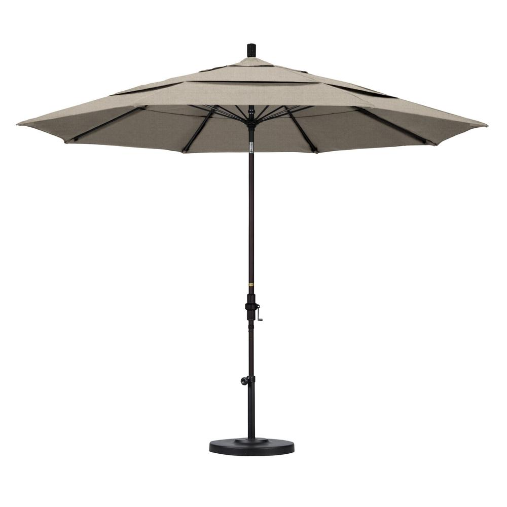 11 ft. Fiberglass Collar Tilt Double Vented Patio Umbrella in Granite