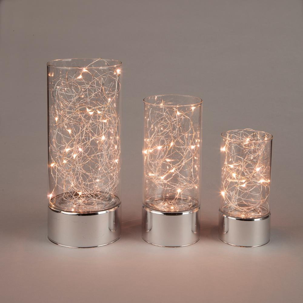 Everlasting Glow Clear Glass Hurricane Jars With Micro LED