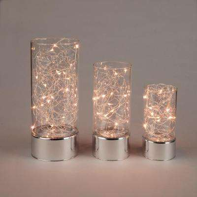 Clear Glass Hurricane Jars with Micro LED String Light (3-Pack)
