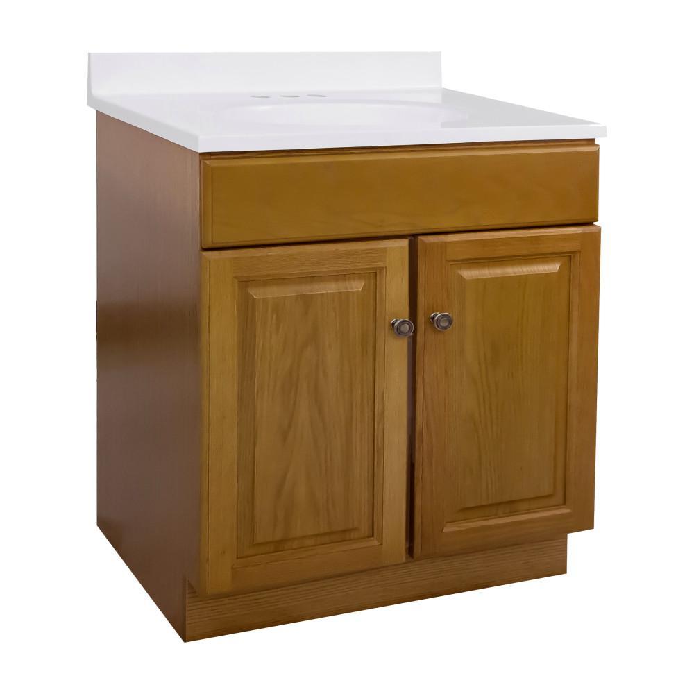 30 in. x 18 in. x 33 in. 2-Door Bath Vanity in Honey Oak with 4 in. Centerset Solid White CM Vanity Top with Basin