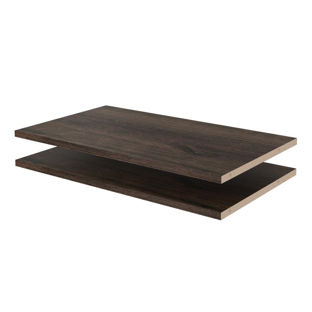 Closet Evolution 24 in. W x 14 in. D Espresso Wood Shelves (2-Pack)