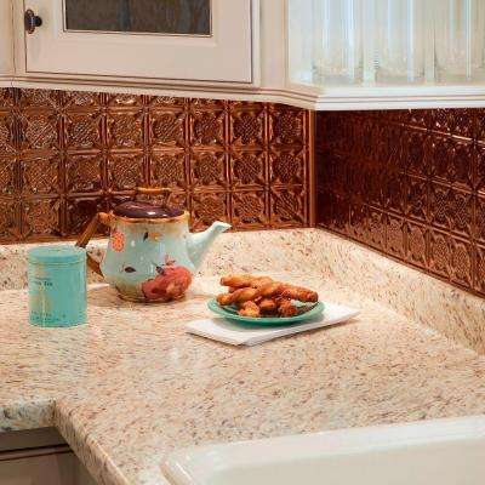 18 in. x 24 in. Traditional 6 PVC Decorative Backsplash Panel in Oil Rubbed Bronze