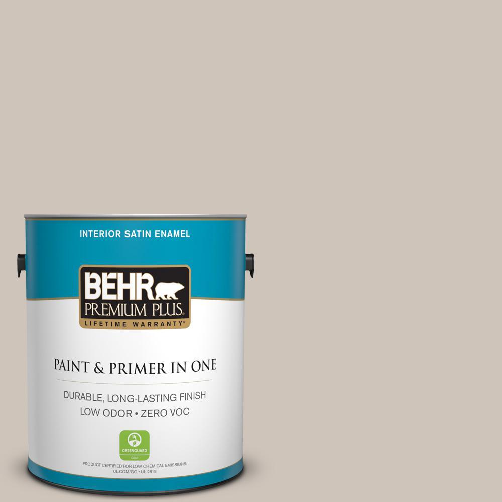BEHR Premium Plus 1-gal. #ICC-89 Gallery Taupe Zero VOC Satin Enamel Interior Paint