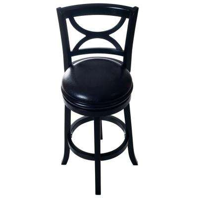 42.5 in. Black Curved Back Wooden Swivel Bar Stool