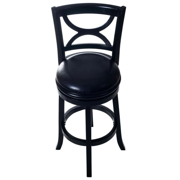 Lavish Home 42.5 in. Black Curved Back Wooden Swivel Bar Stool