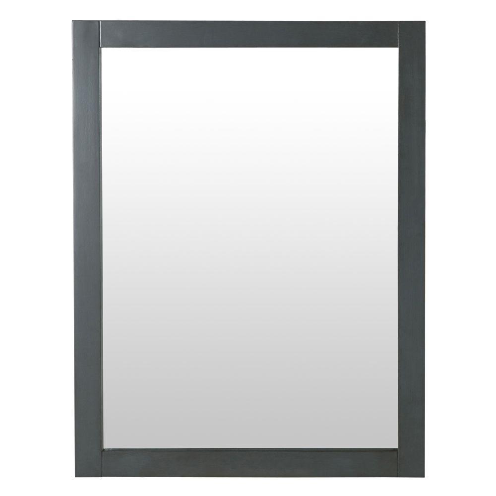 Hanley 31 in. x 24 in. Framed Wall Mirror in Charcoal Gray