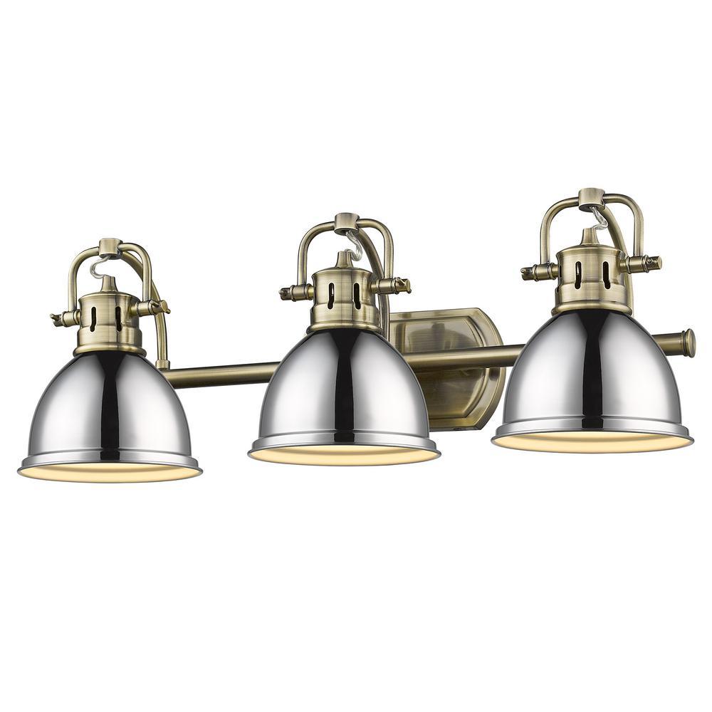 Duncan 8.125 in. 3-Light Aged Brass Vanity Light