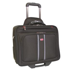 16 inch CompuRoller-Double Black Compartment Wheeled Laptop Briefcase by