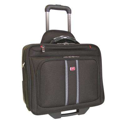 16 in. CompuRoller-Double Black Compartment Wheeled Laptop Briefcase